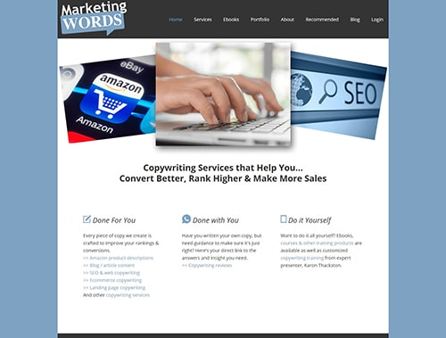 Marketing Words website